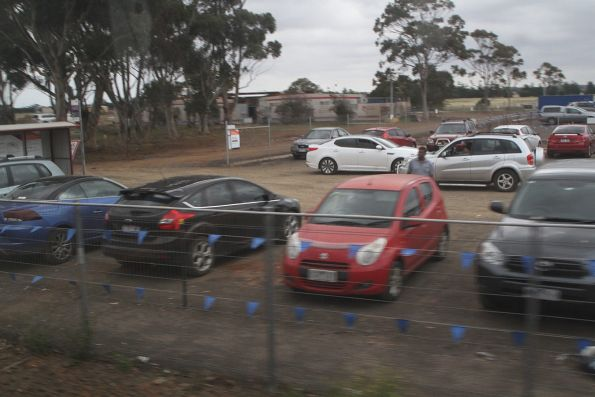 Temporary dirt car park at Rockbank station