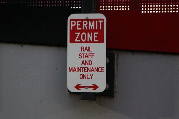 'Permit zone: rail staff and maintenance only' sign in the Footscray station car park