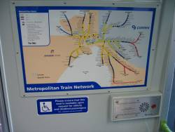 Split Connex and Bayside Trains branded network map onboard an Alstom Comeng train
