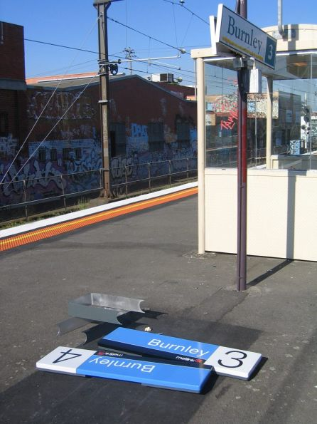 Old and new station signs at Burnley: PTC and Metlink