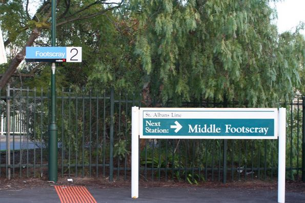 PTC-era 'Next station: Middle Footscray' sign at Footscray station