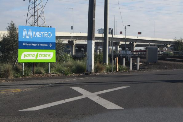 New 'Yarra Trams' sign to go with the 'Metro' signage at E Gate