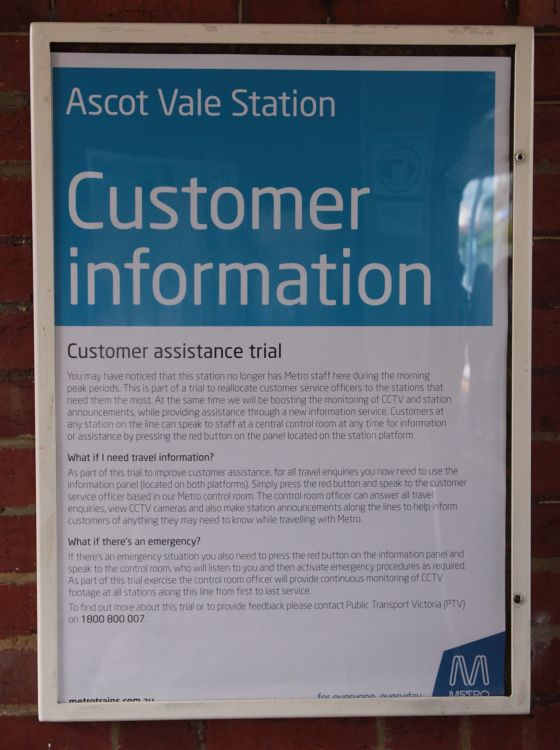 Notice of the six month long customer assistance trial on the Craigieburn and Upfield lines