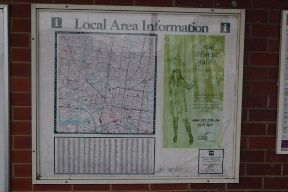 Ancient 'Local Area Information' map at North Melbourne station