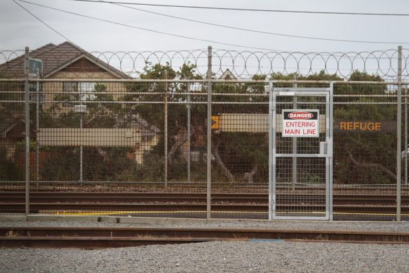 Warning signs for the stabling sidings flanking the main line at Carrum