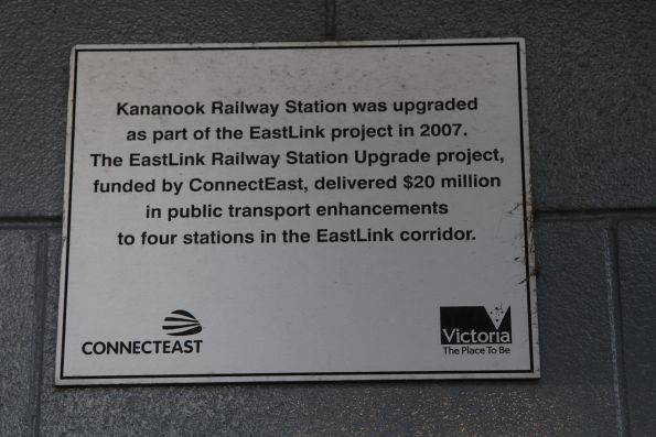 Plaque at Kananook station marking upgrade works completed by in 2007 as part of the EastLink project
