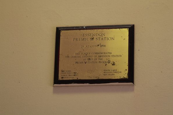 Plaque marking premium station works at Essendon - 29 August 1996