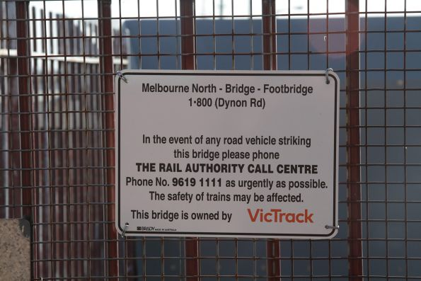 VicTrack bridge strike warning sign on the North Melbourne-Dynon footbridge