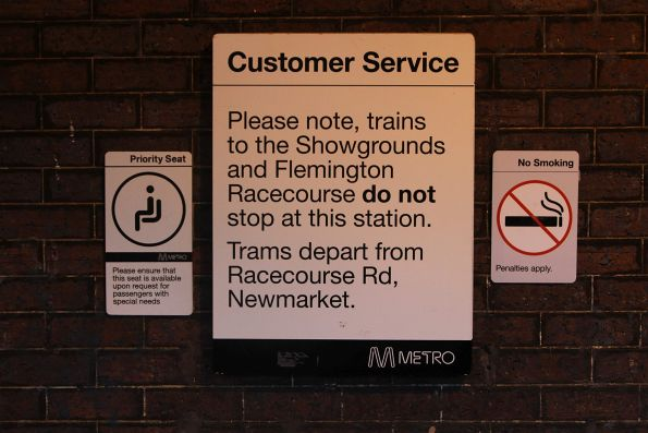 'Trains to the Showgrounds and Flemington Racecourse do not stop here' sign at Kensington station