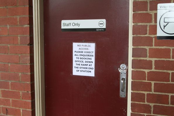 'No public access' notice at the North Melbourne station control room