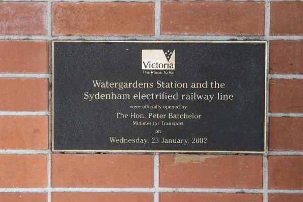 Plaque marking the opening of Watergardens station and the electrified Sydenham line
