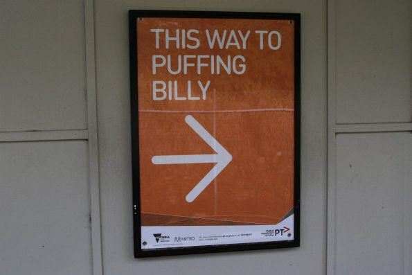 Directions to the Puffing Billy exit at Belgrave station