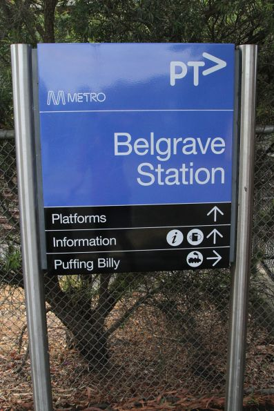 Directions to Puffing Billy on the station sign at Belgrave