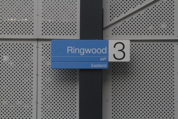 'Eastland' sign added below the station signs at Ringwood