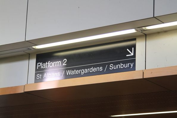'Platform 2 for St Albans / Watergardens / Sunbury' sign at Sunshine station