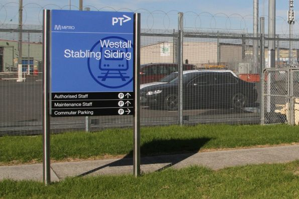 PTV style sign at the entrance to the Westall stabling sidings