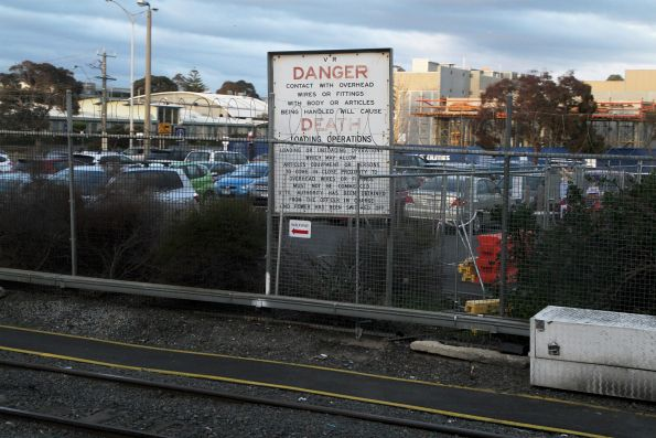 'DANGER contract with overhead wires will cause DEATH' sign at Frankston station