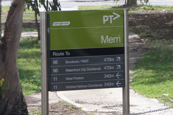 PTV branded Yarra Trams signage outside Merri station