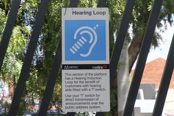 Metlink branded hearing loop signage at Thomastown station