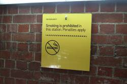 Fold down 'Smoking is prohibited' sign in the subway at Heidelberg station
