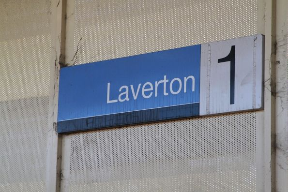 Metlink style station sign at Laverton, with the 'Metlink' brand blacked out