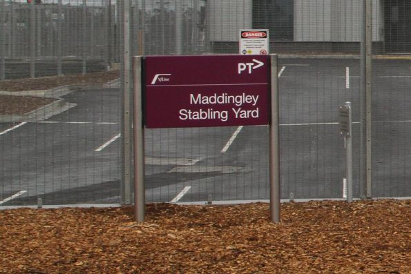 PTV style sign at the entrance to the Madding stabling yard at Bacchus Marsh