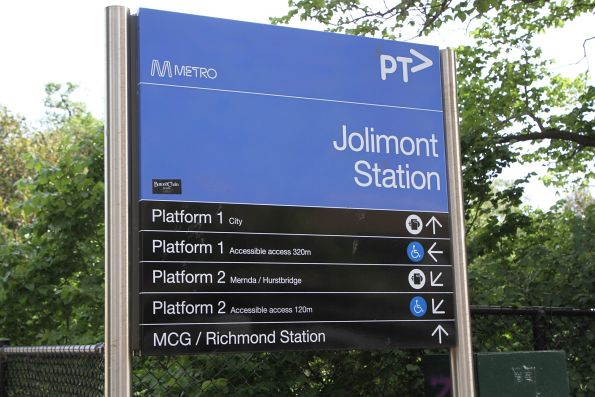 Platform directions to Jolimont station - accessible ramps are down the road a bit