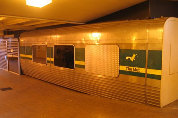 Remains of Comeng 388M used as a kiosk in the station subway at Werribee
