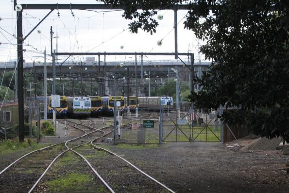Stabled trains, including a pair of Hitachi, at the North Melbourne Stabling Sidings