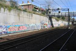 Graffiti along the concrete cutting walls between Burnley and East Richmond