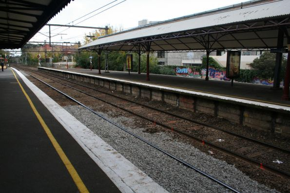 Dud sleepers marked for replacement at Hawthorn's platform 2.