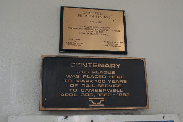 Plaque from 1982 marking the centenary of rail services to Camberwell