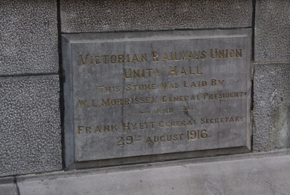 Foundation stone of the Victorian Railway Union 'Unity Hall' placed in 1916
