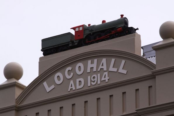 2 metre long model of an A2 steam locomotive atop 'Loco Hall' in North Melbourne