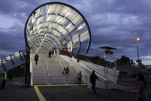 New footbridge at Footscray by dusk