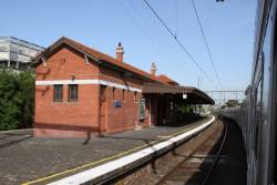 Station building on the island platform at Auburn