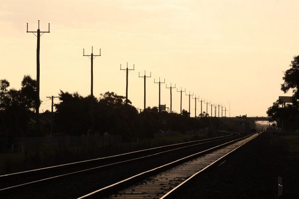 Unused power lines beside the tracks at Ardeer