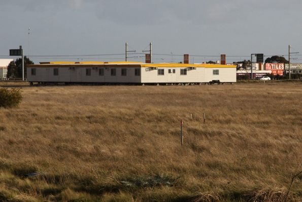Site huts for the construction of Williams Landing station on the Werribee line in Laverton