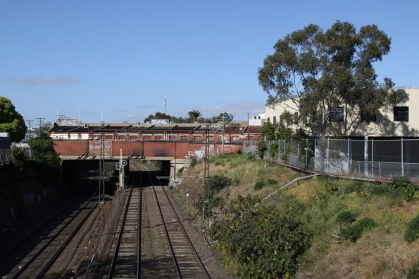 Looking east towards Footscray and the Nicholson Street overbridge