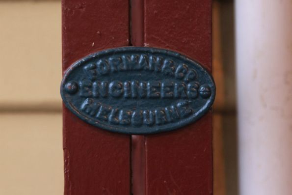 'Foreman & Co Engineers' builders plate at Murrumbeena