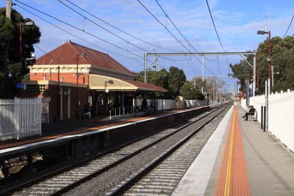 Coburg station, looking up the line at the original station building on platform 1