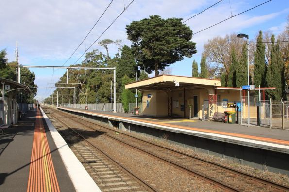 Fawkner station, looking up the line at the original station building on platform 2