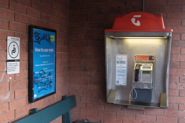 Telstra payphone at a suburban railway station in Melbourne