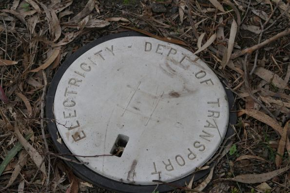 'Dept of Transport Electricity' manhole in the railway reserve