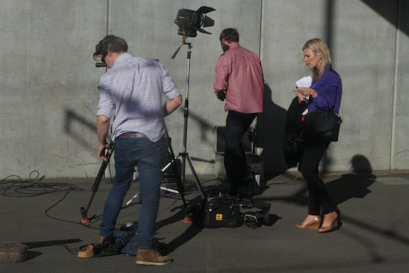 TV news crew wraps up filming at North Melbourne platform 1