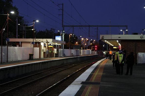 Night-time at Blackburn station