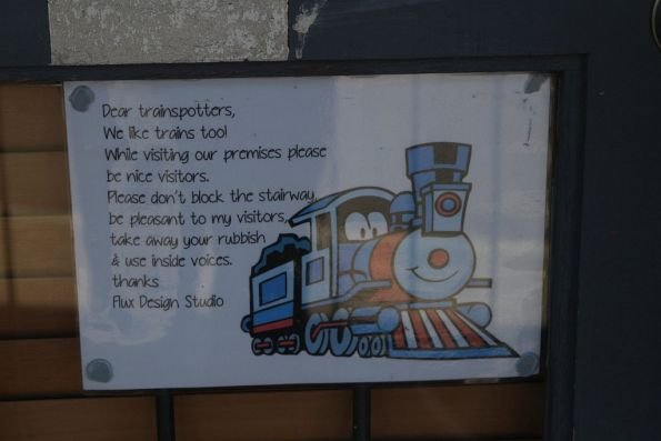 Notice to trainspotters from a neighbour of the Bunbury Street tunnel