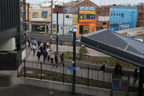 Passengers make their way to platform 1 at Footscray station