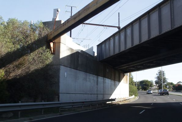 Provision for a future third track on the Frankston line at the Nepean Highway underpass in Mordialloc