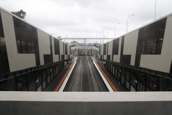 Looking down the line from the overhead concourse at Springvale station